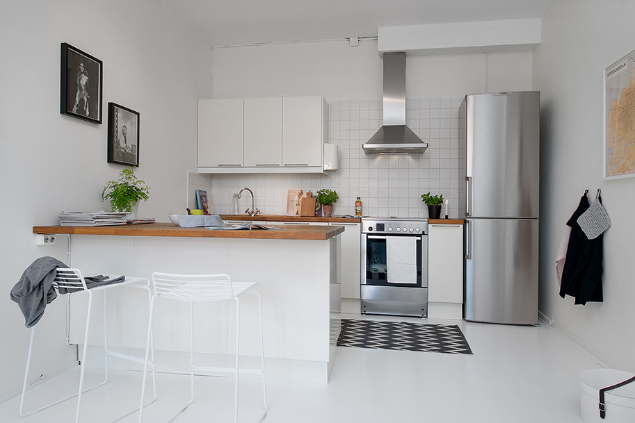 kitchen interior design Small Single Room Apartment in Black and White - Gothenburg, Sweden
