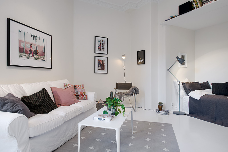 Small Single Room Apartment in Black and White - Gothenburg, Sweden