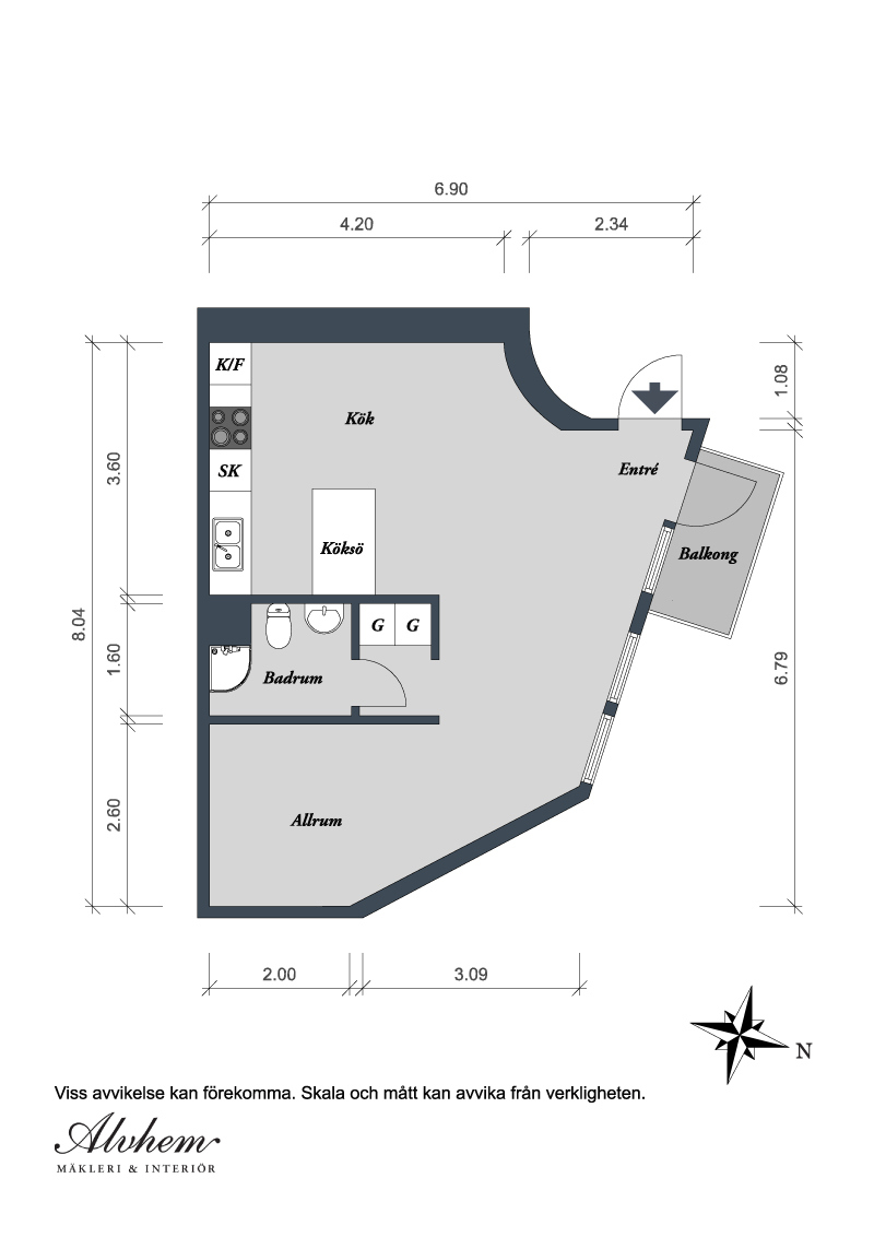 floor plan blueprin Small Single Room Apartment in Black and White - Gothenburg, Sweden