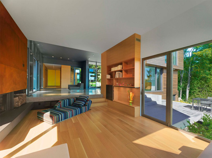living room interior design T House-Modern Mansion by Natalie Dionne Architecture in Sutton, Canada