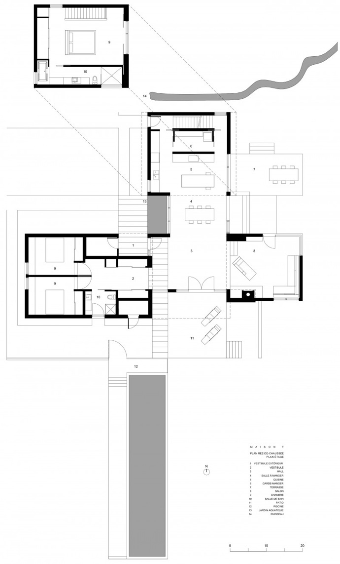 plan of the T House-Modern Mansion by Natalie Dionne Architecture in Sutton, Canada blueprint T House-Modern Mansion by Natalie Dionne Architecture in Sutton, Canada