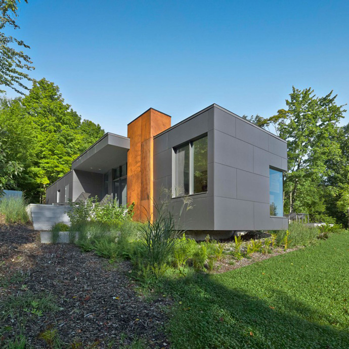 perspective view of the T House-Modern Mansion by Natalie Dionne Architecture in Sutton, Canada