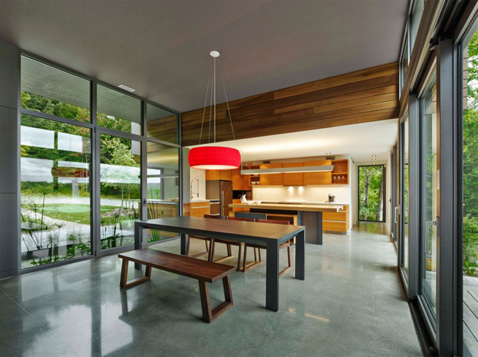 dinning area T House-Modern Mansion by Natalie Dionne Architecture in Sutton, Canada