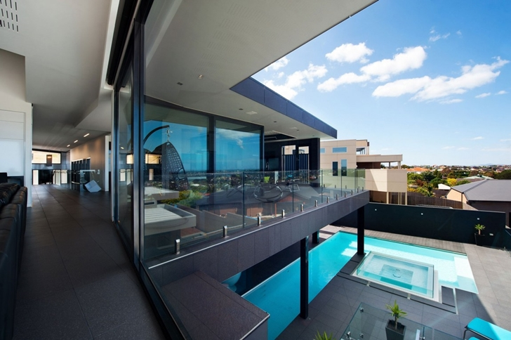 view to the central courtyard Wandana Residence - Modern Dream in Black & Blue Overlooking Corio Bay