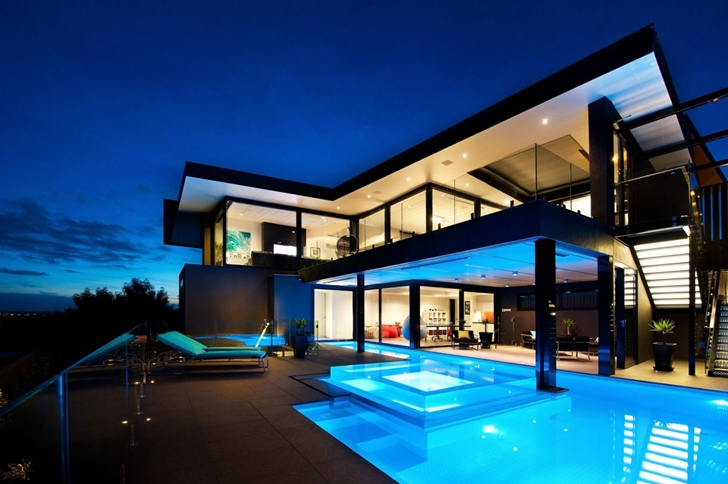 Wandana residence modern dream home in black blue for Big amazing houses