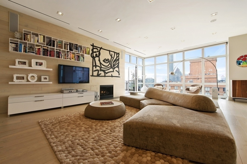 living room of the Wolf of Wall Street Penthouse Apartment in Manhattan for Sale