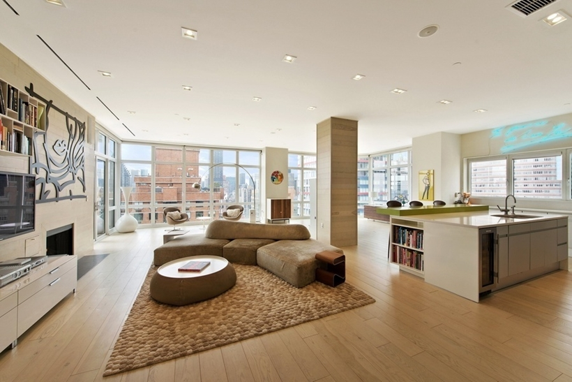 living room interior design Wolf of Wall Street Penthouse Apartment in Manhattan for Sale