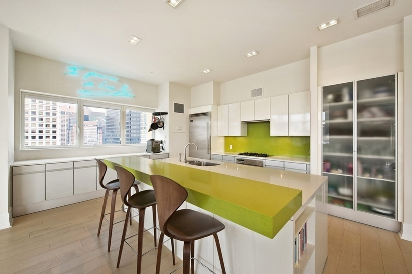 kitchen bar area Wolf of Wall Street Penthouse Apartment in Manhattan for Sale