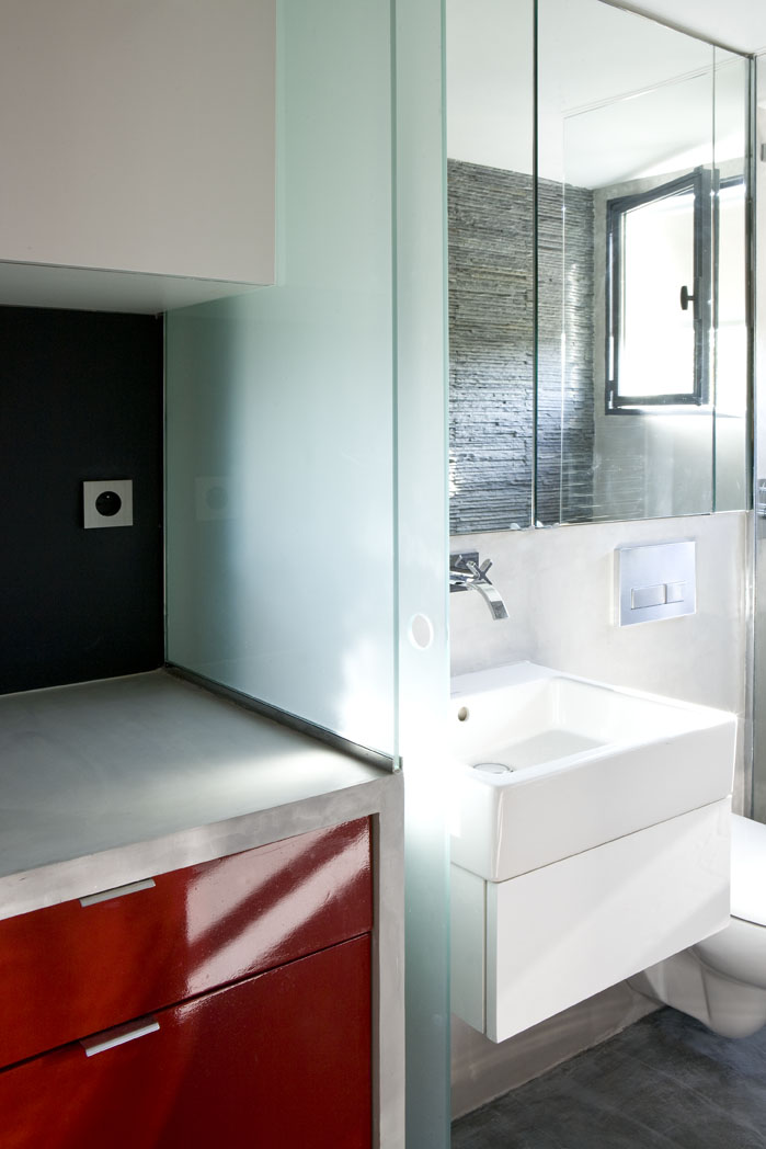 small bathroom design Small Room Design-16m² Apartment in Paris by Marc Baillargeon&Julie Nabucet