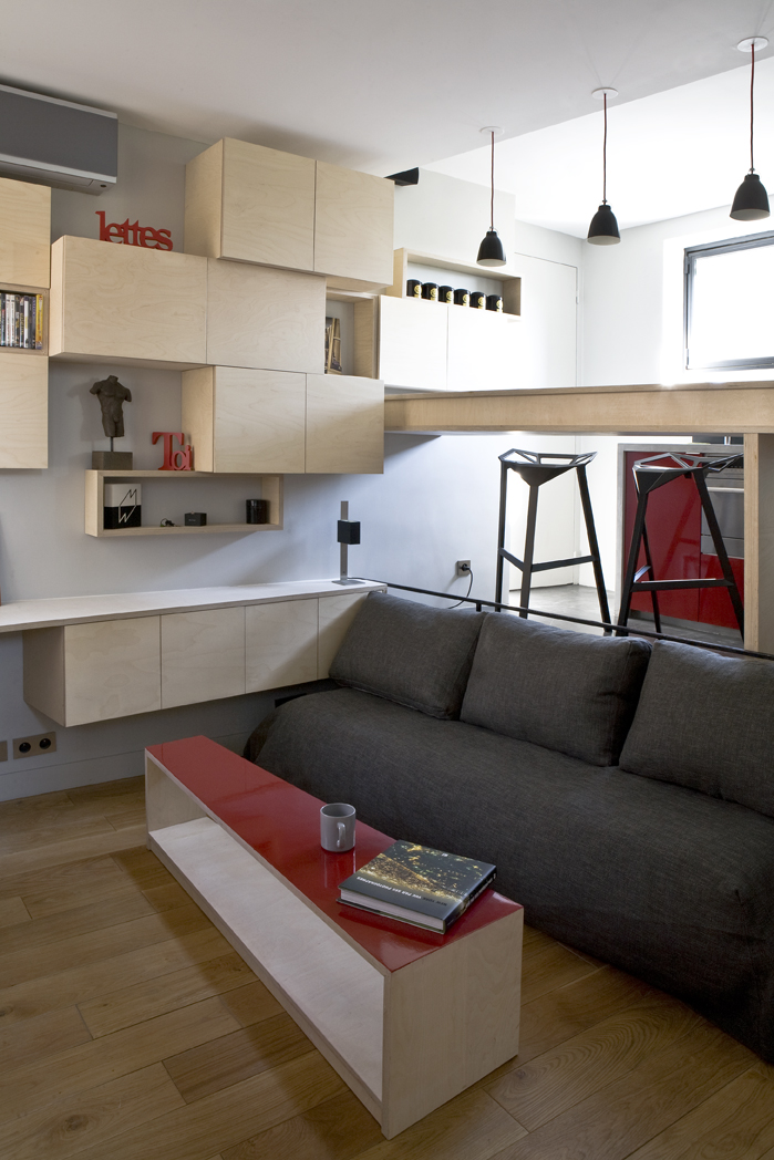 small living room design Small Room Design-16m² Apartment in Paris by Marc Baillargeon&Julie Nabucet