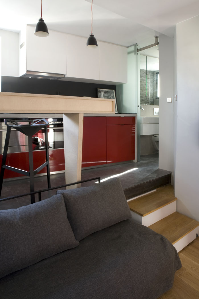 Small Staircase To The Living Rom Small Room Design 16m² Apartment In Paris  By Marc