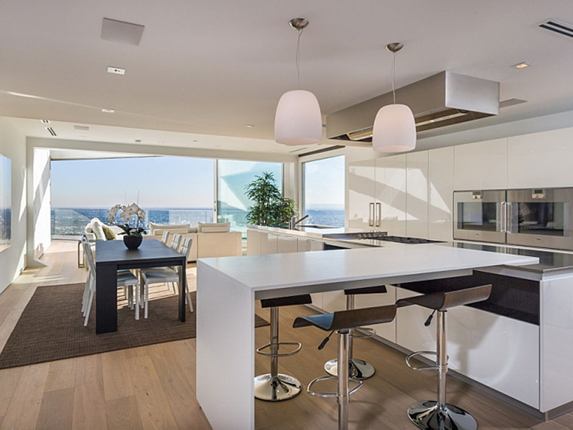 bar in the kitchen with a view 8320-Grand-View-Drive-Modern-Mansion-on-Sunset-Strip-Offering-Expansive-Views-over-Los-Angeles-homesthetics