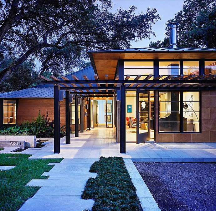 Asian Influences in Modern Mansion- Tarrytown Residence by Webber + Studio, Architects at night