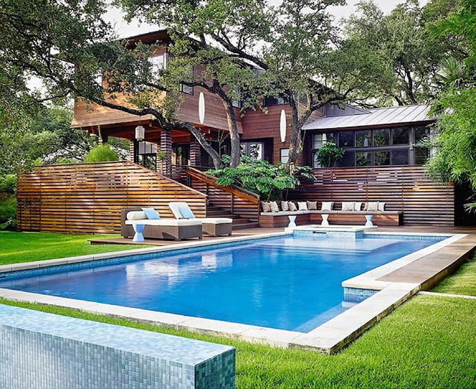 breathtaking swimming pool house-Asian Influences in Modern Mansion- Tarrytown Residence by Webber + Studio, Architects