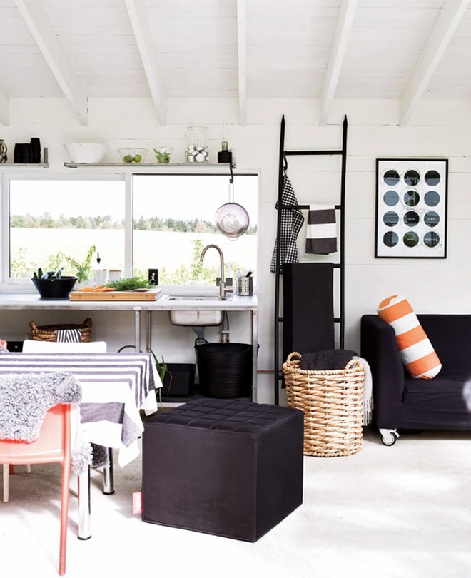 Backyard Landscaping Ideas -Garden Shed in Black and White Featuring Classical Scandinavian Design homesthetics studio (5)