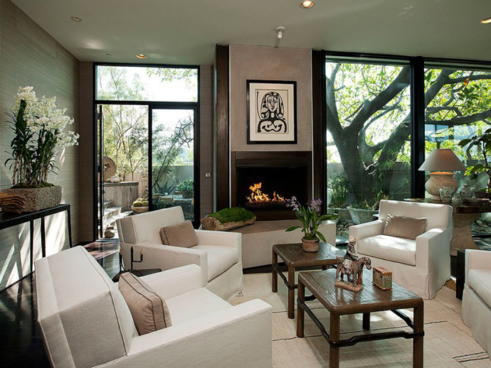 black and white living room interior design Contemporary-Traditional Mixture in a Sunset Strip Modern Mansion by Hagy Belzberg