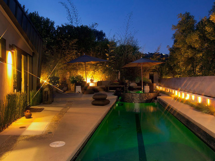 swimming pool design at night Contemporary-Traditional Mixture in a Sunset Strip Modern Mansion by Hagy Belzberg