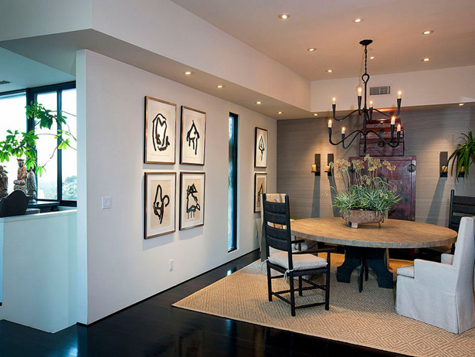 dinning area Contemporary-Traditional Mixture in a Sunset Strip Modern Mansion by Hagy Belzberg