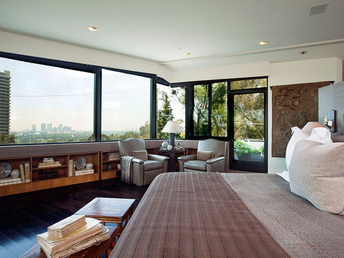 bedroom interior design Contemporary-Traditional Mixture in a Sunset Strip Modern Mansion by Hagy Belzberg