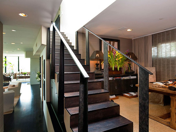 interior staircase in wenge Contemporary-Traditional Mixture in a Sunset Strip Modern Mansion by Hagy Belzberg