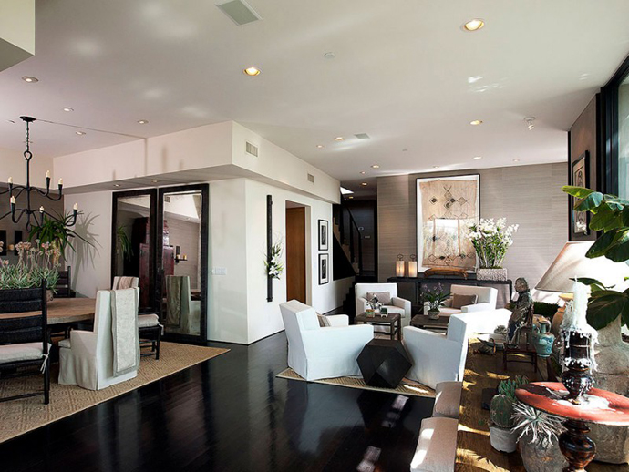 living room interior design Contemporary-Traditional Mixture in a Sunset Strip Modern Mansion by Hagy Belzberg