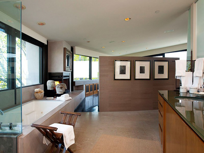 high end bathroom design Contemporary-Traditional Mixture in a Sunset Strip Modern Mansion by Hagy Belzberg