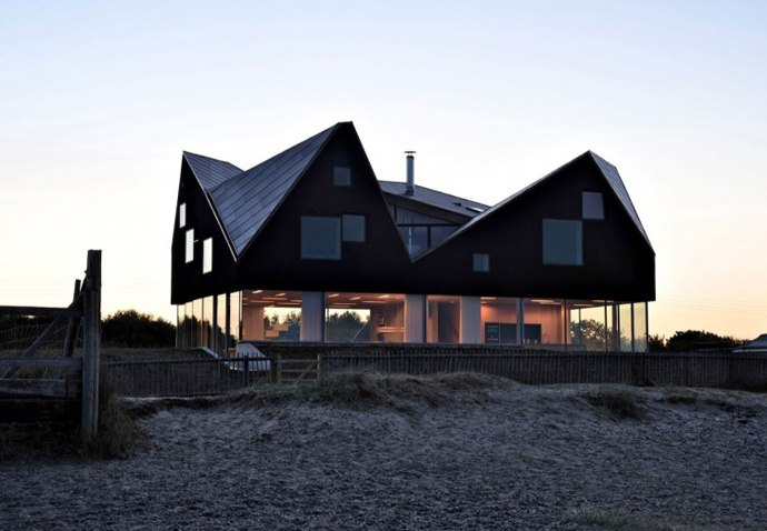 exterior Dune House by JVA - Modern Vacation Home in Suffolk, England