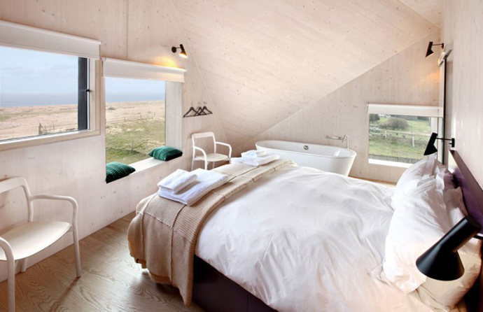 bedroom interior design Dune House by JVA - Modern Vacation Home in Suffolk, England