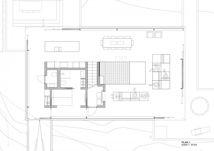 blueprint groundfloor section plane Dune House by JVA - Modern Vacation Home in Suffolk, England