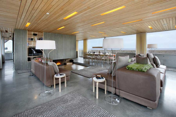 living room interior design Dune House by JVA - Modern Vacation Home in Suffolk, England