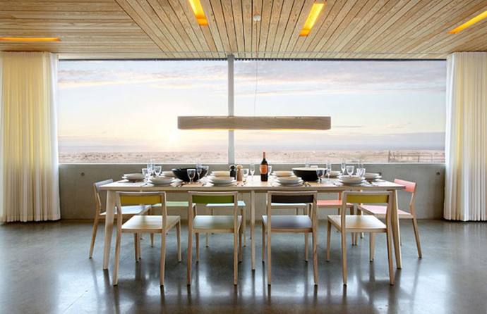 dinning area with breathtaking view Dune House by JVA - Modern Vacation Home in Suffolk, England