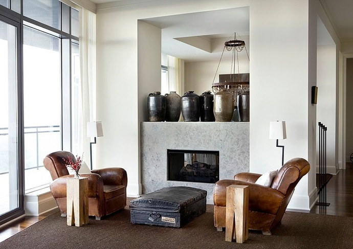 modern fireplace High Rise Small Spaces - Sovereign Home by Westbrook Interiors