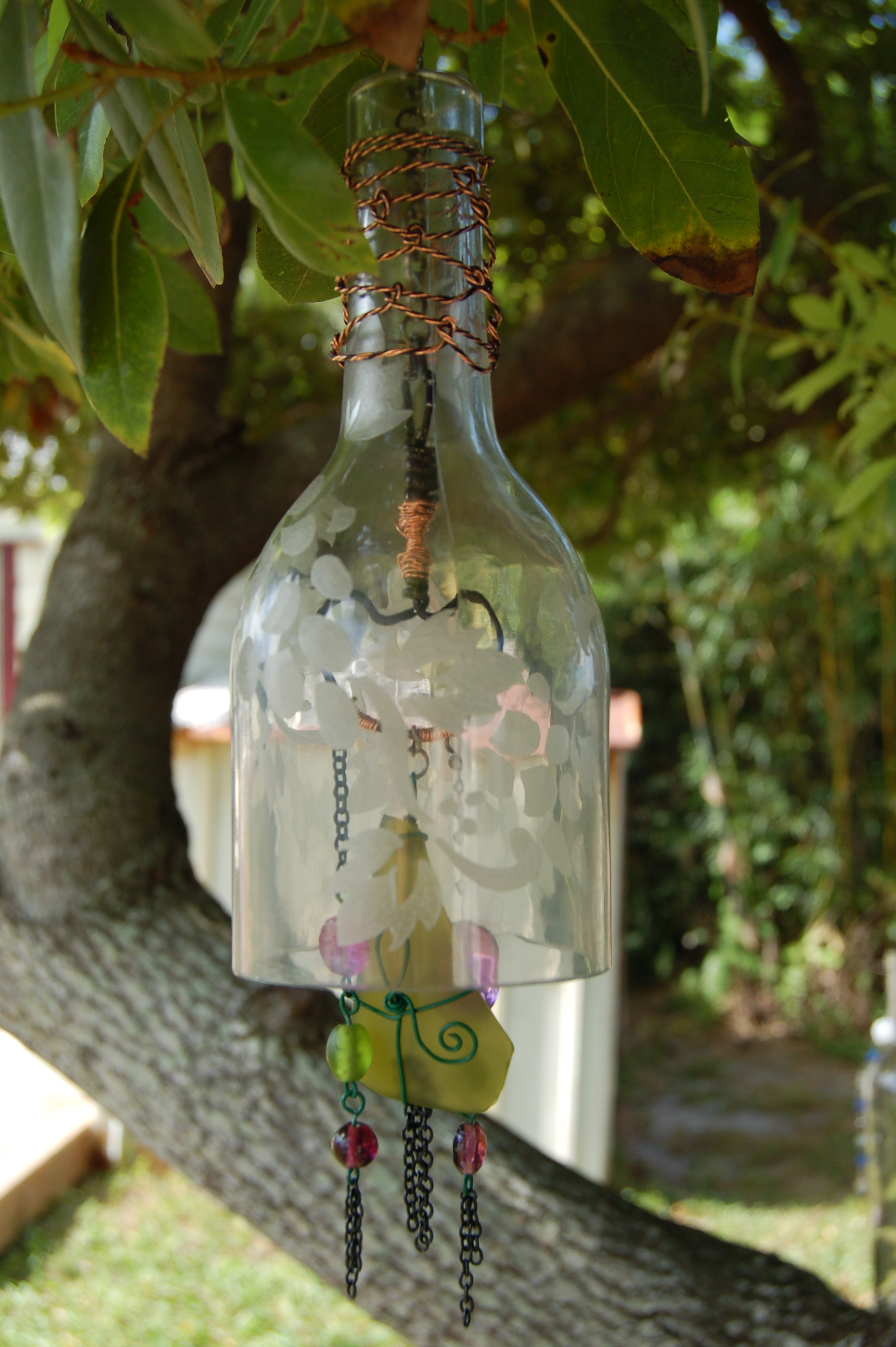 How to Create Your Own Green Retro Wind Chime Out of Recycled Wine