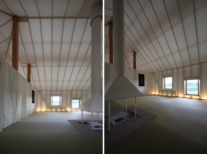 fireplace in In Pursuit of Sustainable Architecture-Experimental House by Kengo Kuma in Memu, Kokkaido Homesthetics