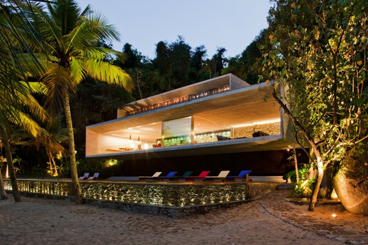 perspective view of the Minimalist Modern Beach House in the Wilderness- Paraty House by Marcio Kogan