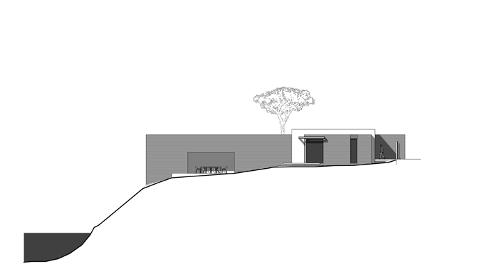 facade section plane ground floor blueprint Modern Minimalist Holiday House by Line Architects in Chisinau MoldovaModern Minimalist Holiday House by Line Architects in Chisinau Moldova