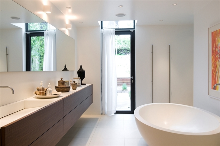 simple bathroom design in the Nilsson Villa-Modern Beach House With Black and White Interior Design in Sweden