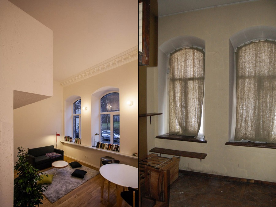 living room design Small Apartment Design Sheltered by a  Brick Mansion in Vilnius, Lithuania