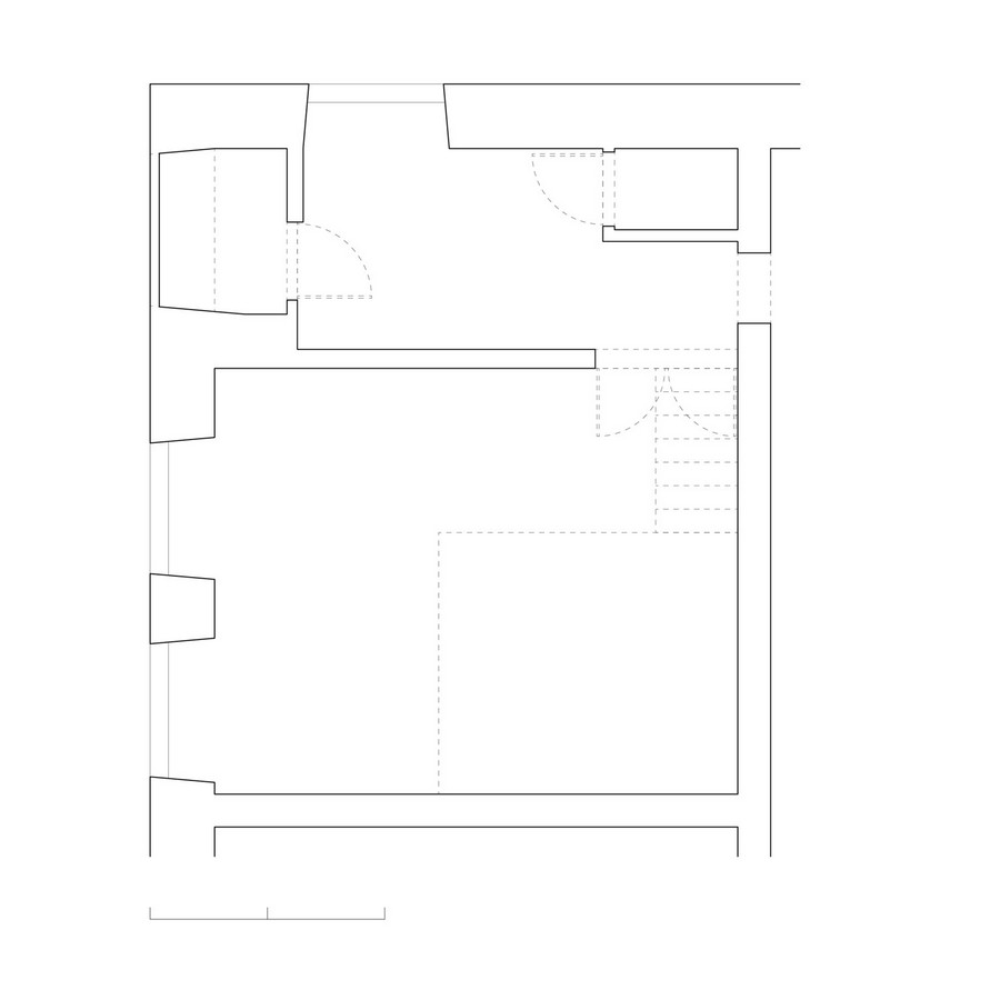 floorplan blueprint Small Apartment Design Sheltered by a  Brick Mansion in Vilnius, Lithuania