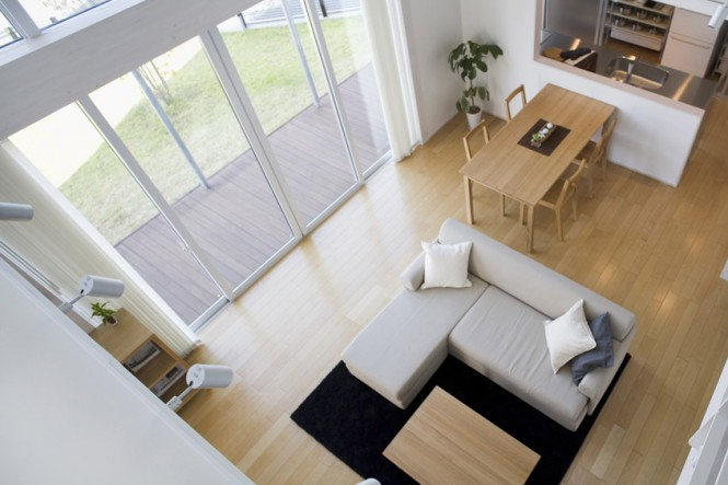 view over the living room Small Compact Minimalist Prebaricated Home in Japanese Style by Muji
