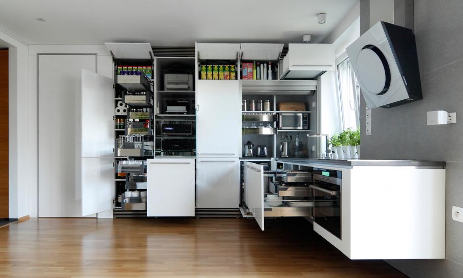 kitchen storage Small Slovakian Apartment Enhanced With LED Lighting Envisioned by Rudolf Lesňák