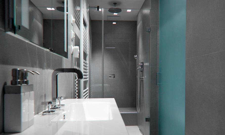 bathroom interior design in the Small Slovakian Apartment Enhanced With LED Lighting Envisioned by Rudolf Lesňák