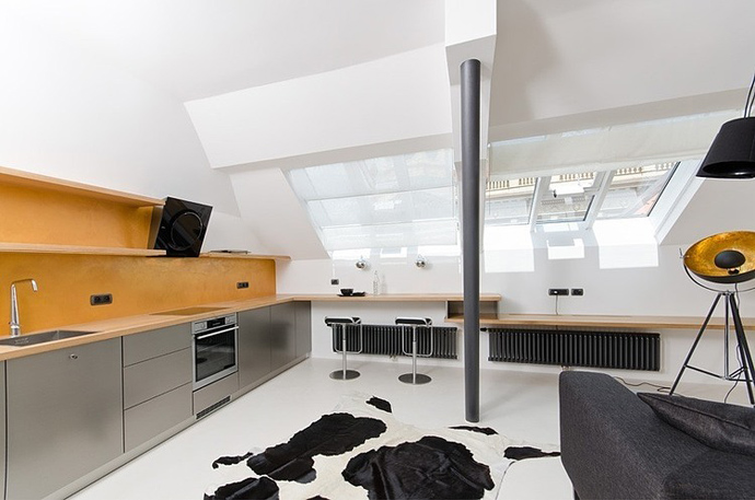 black and white living room design Small Tiny Minimalist Black And White Apartment In Prague by OOOOX