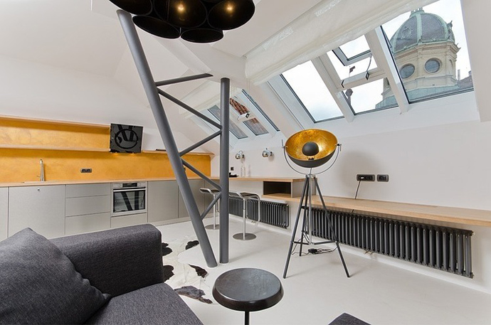 small living room Small Tiny Minimalist Black And White Apartment In Prague by OOOOX