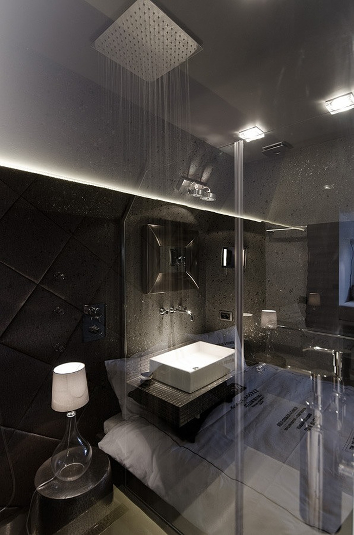 bathroom interior designsmall bedroom interior design Small Tiny Minimalist Black And White Apartment In Prague by OOOOX