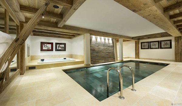 luxruious interior swimming pool in Stunning Modern Mansion Preserving The Roots in Courchevel, France-Les Gentianes 1850