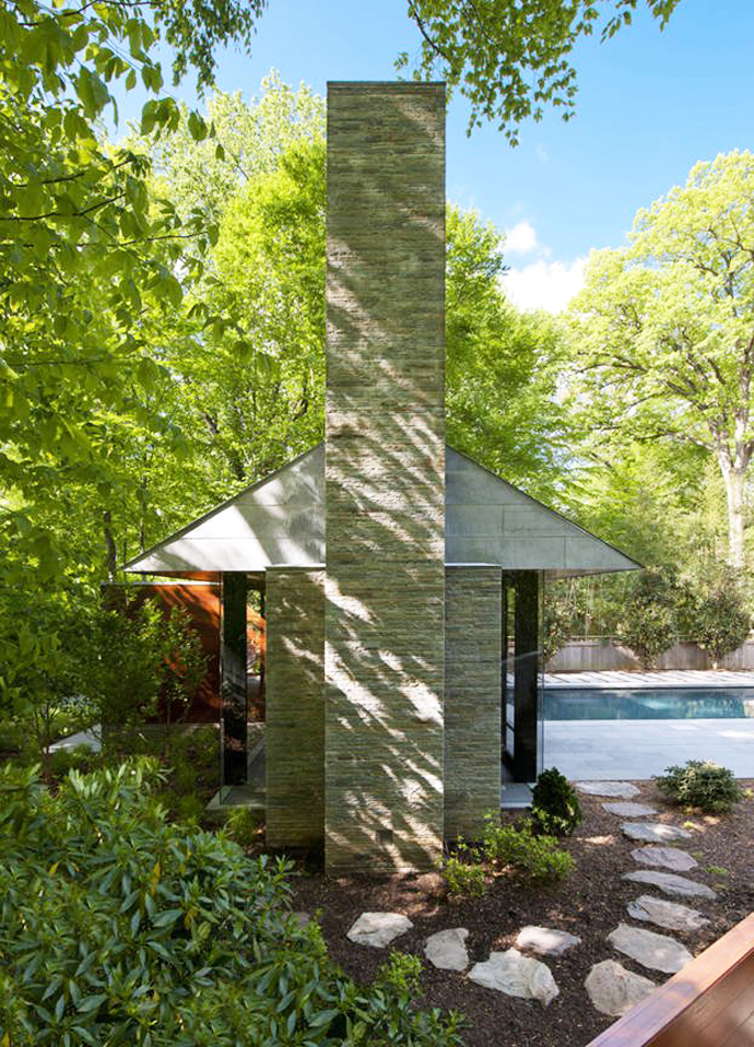 the back of the Supreme Backyard Landscaping Ideas-Nevis Pool and Garden Pavilion by Robert M. Gurney