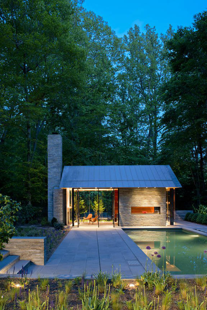 Supreme Backyard Landscaping Ideas-Nevis Pool and Garden Pavilion by Robert M. Gurney at night