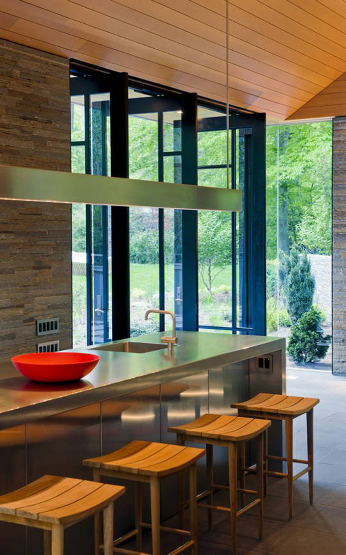 small kitchen in the Supreme Backyard Landscaping Ideas-Nevis Pool and Garden Pavilion by Robert M. Gurney