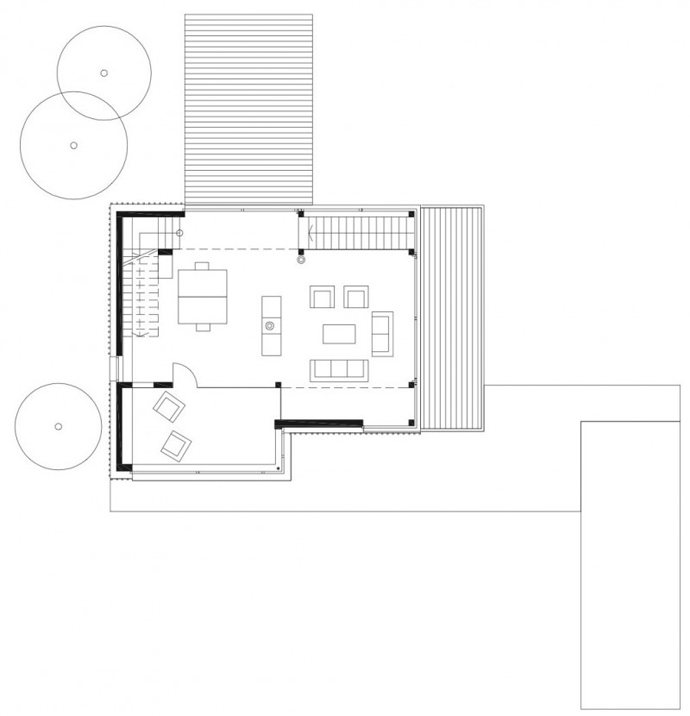 blueprint floorplan groundfloor The Purity of a Rectangular Shape Materialized in a Modern Mansion-House M by Hohensinn Architektur